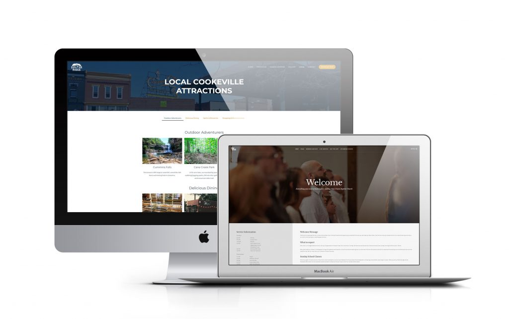 Computers showing websites designed by Eklipse Creative